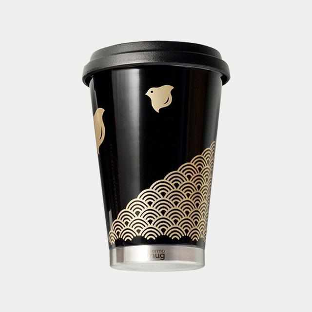 [Tumbler / Water Bottle] Thermo Mug Urushi Mobile Tumbler Wave Chidori (Black) | Echizen Lacquerware