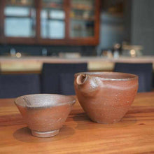 Load image into Gallery viewer, [Sake Bottle] Sake Set (Katakuchi & Guinomi) | Bizen Wares