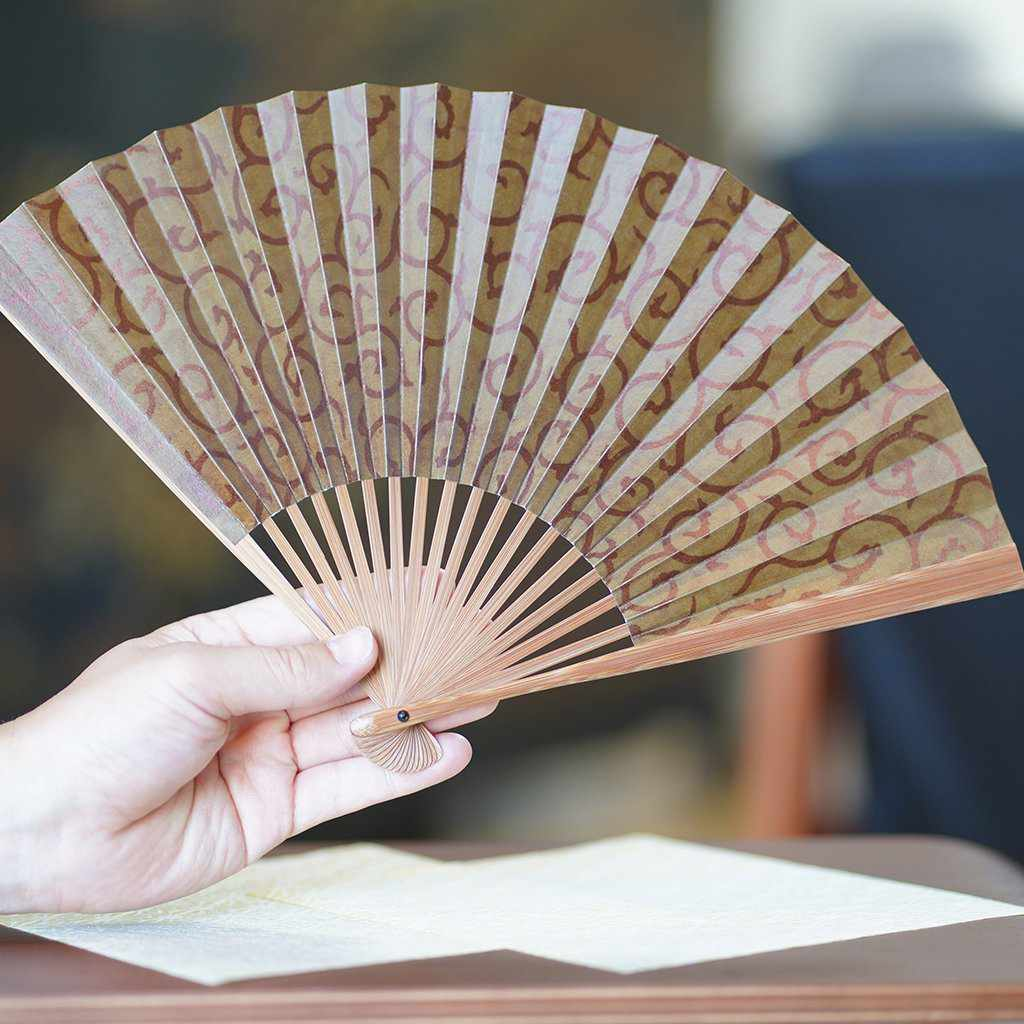 [Hand Fan] Man'S Arabesque Soot And Bamboo | Edo Folding Fans