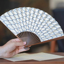 Load image into Gallery viewer, [Hand Fan] Omochi Sansha Net Gray Karaki Bamboo | Edo Folding Fans