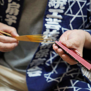 [Hand Fan] Woman'S Shark Komon Peach Karaki Bamboo | Edo Folding Fans