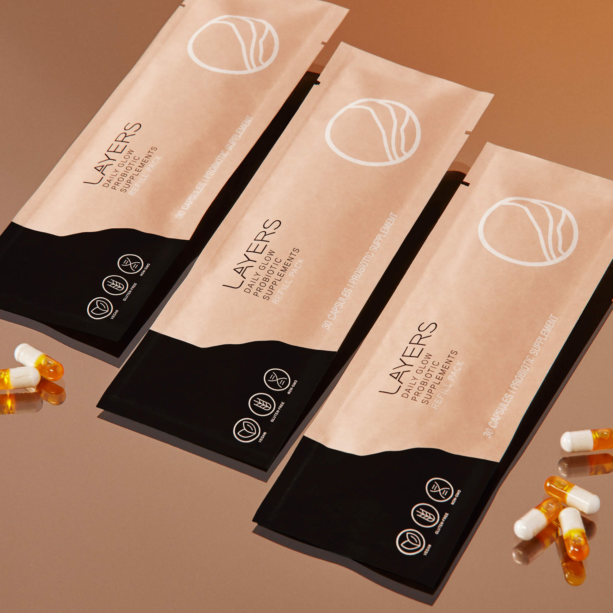 Layers Daily Glow Probiotic Supplements 100% recyclable refill pouches. 90-day supply is 3 30-capsule pouches.