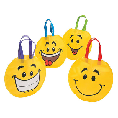 4 bright yellow round smiley face tote bags