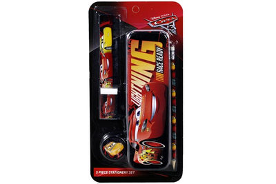 Disney Cars 5 piece stationery set. Set includes Metal Pencil Case, Eraser, Ruler, Sharpner, Pencil