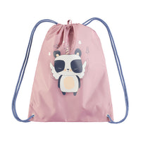 Pink drawstring bag with panda picture on it