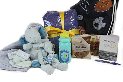 Blanket, Socks, Drink Bottle, Cookie, Carry Bag, Elephant teddy with rattle, elephant dummy holder
