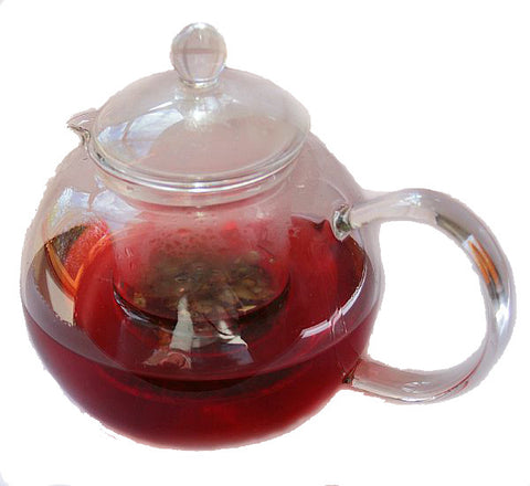 800ml Glass Teapot with Australian Native Tea brewing