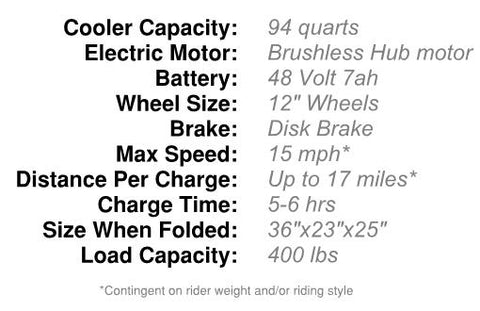 Kreweser Motorized Cooler Specs