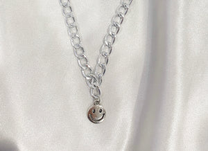 Smiley Face Necklace - Silver