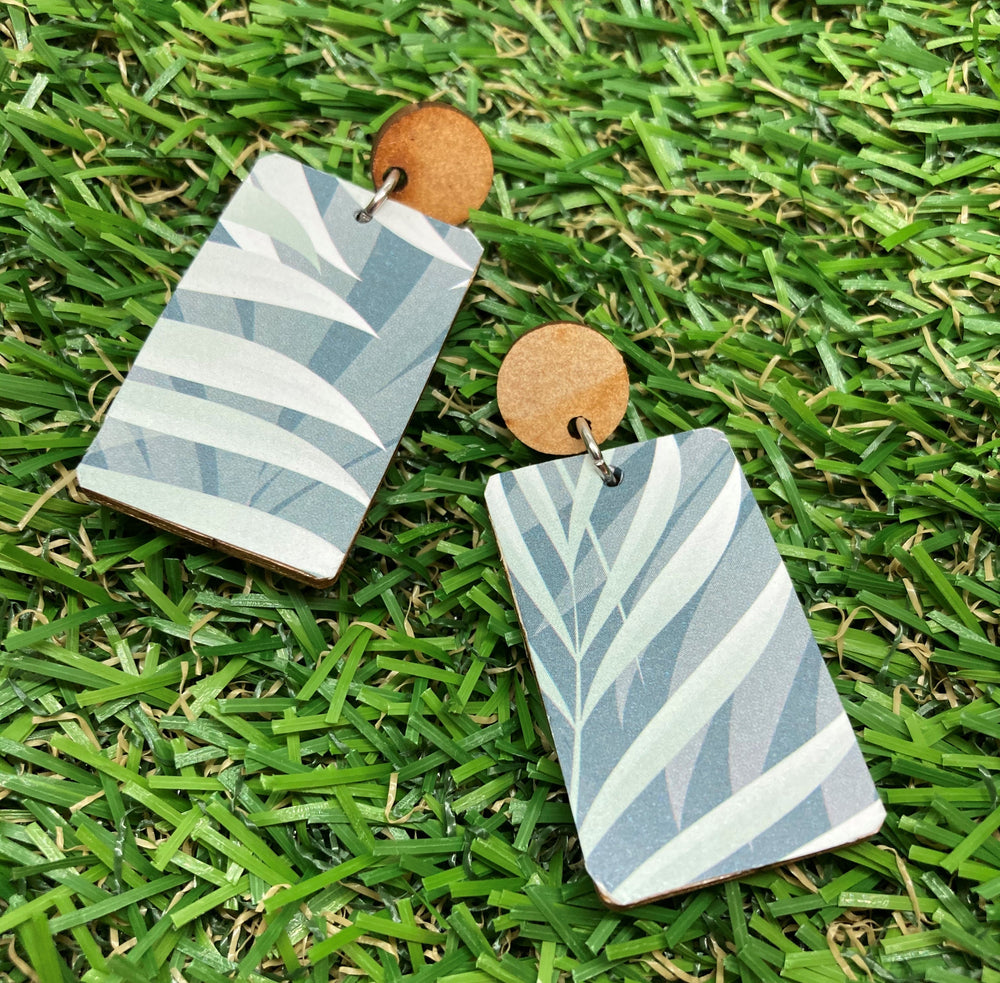 Rectangle Leaf Print Earrings