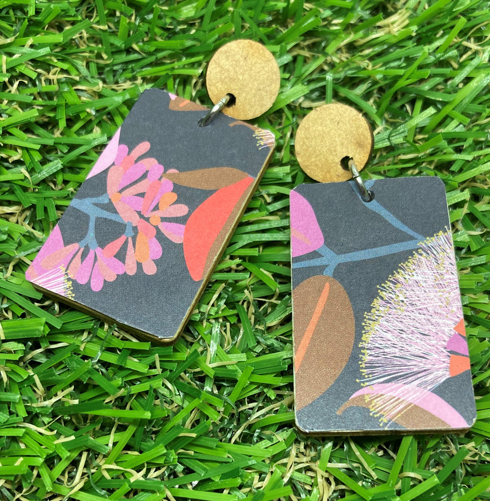 Rectangle Bottlebrush Print Earrings