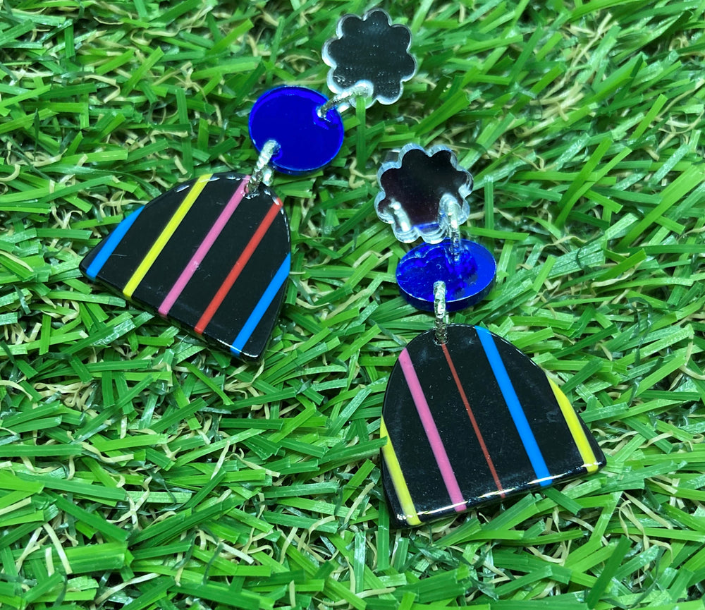Striped Acrylic Arch Earrings