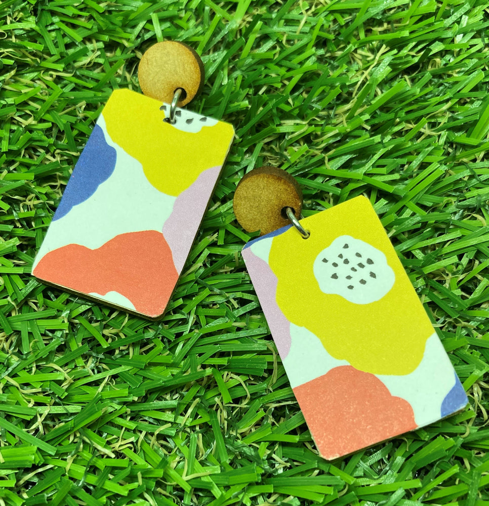 Rectangle Bright Floral Print Earrings