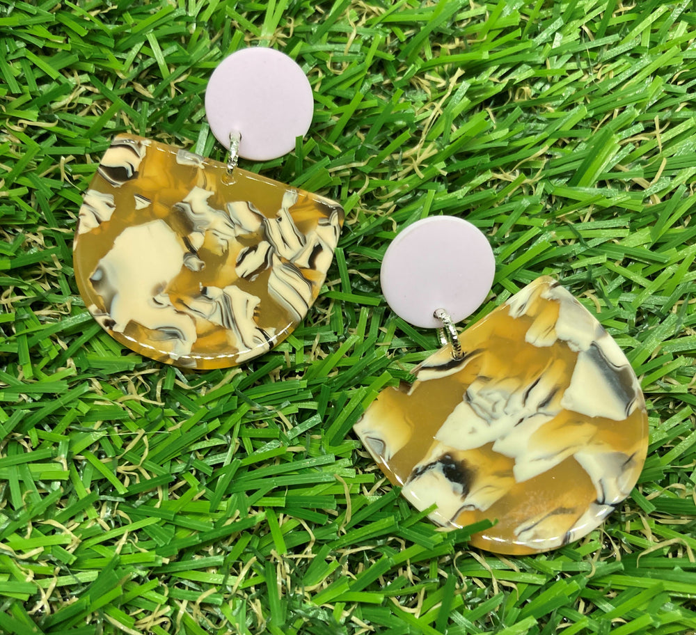 Marbled Mustard Arch Earrings