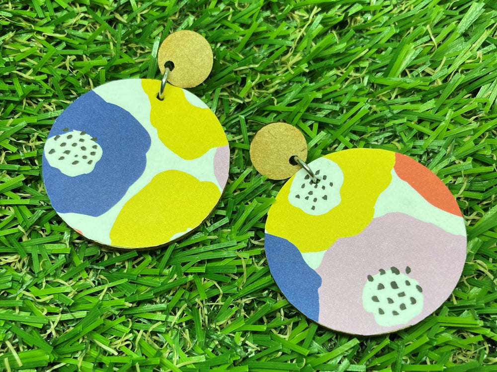 Bright Floral Disc Earrings