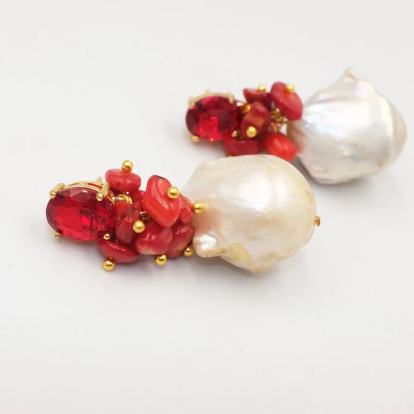 Hygeia, Corals and Baroque Pearl Earrings