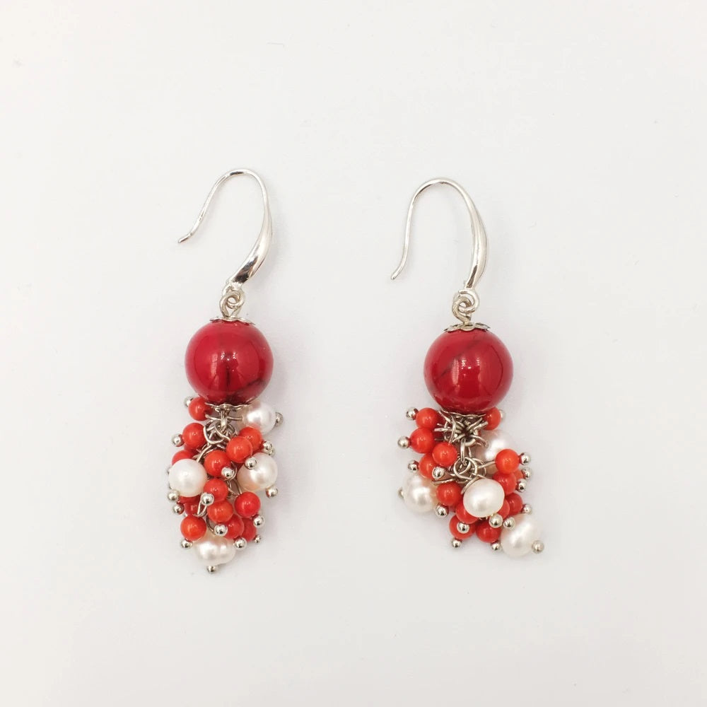 Hestia, Clustered Corals and Seed Pearl Earrings
