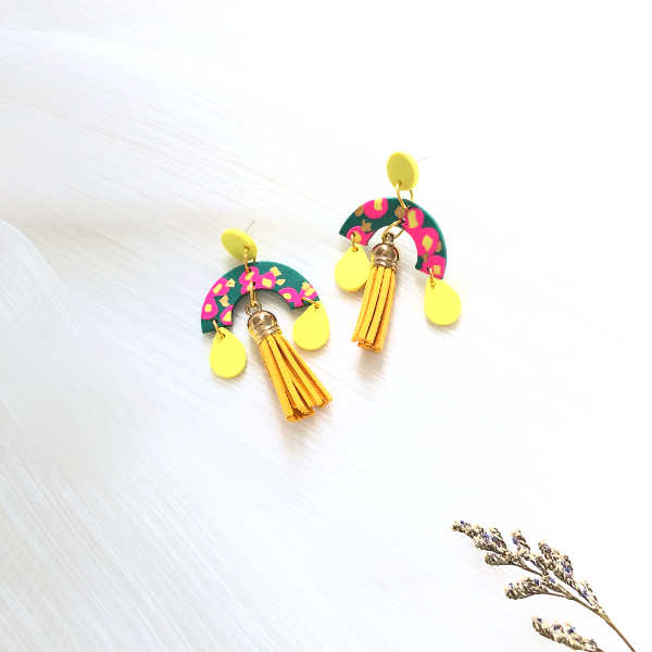 Aki de Fleur Yellow Tassels Earrings