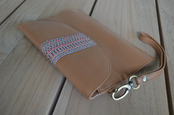 Leather Wallet with Ribbon Trim