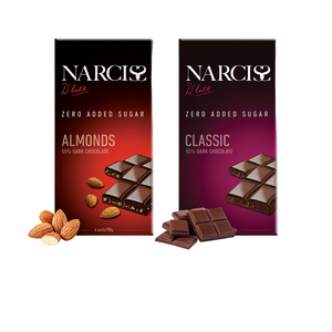Narciss Sugar Free 55% Dark Chocolate - Pack of 2, Almonds and Classic (90g X 2)