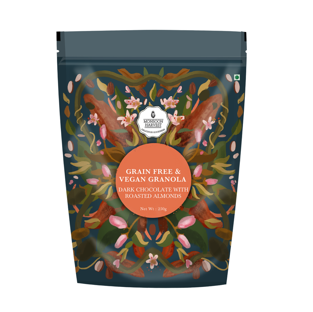 Grain Free & Vegan Granola - Dark Chocolate With Roasted Almond, 250g