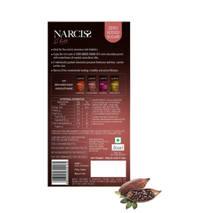 Narciss Sugar Free 55% Dark Chocolate - Pack of 2, Cocoa Nibs and Almonds (90g X 2)