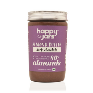 Happy Jars Dark Chocolate Almond Butter (265g) - Low Sugar & Vegan
