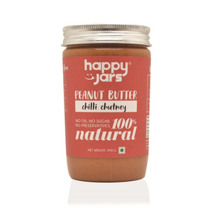 Happy Jars Chilli Chutney Peanut Butter (290g) - High Protein, No Sugar