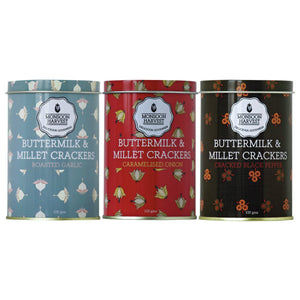 Buttermilk & Millet Crackers - Assorted Variety Pack 3 X 100g