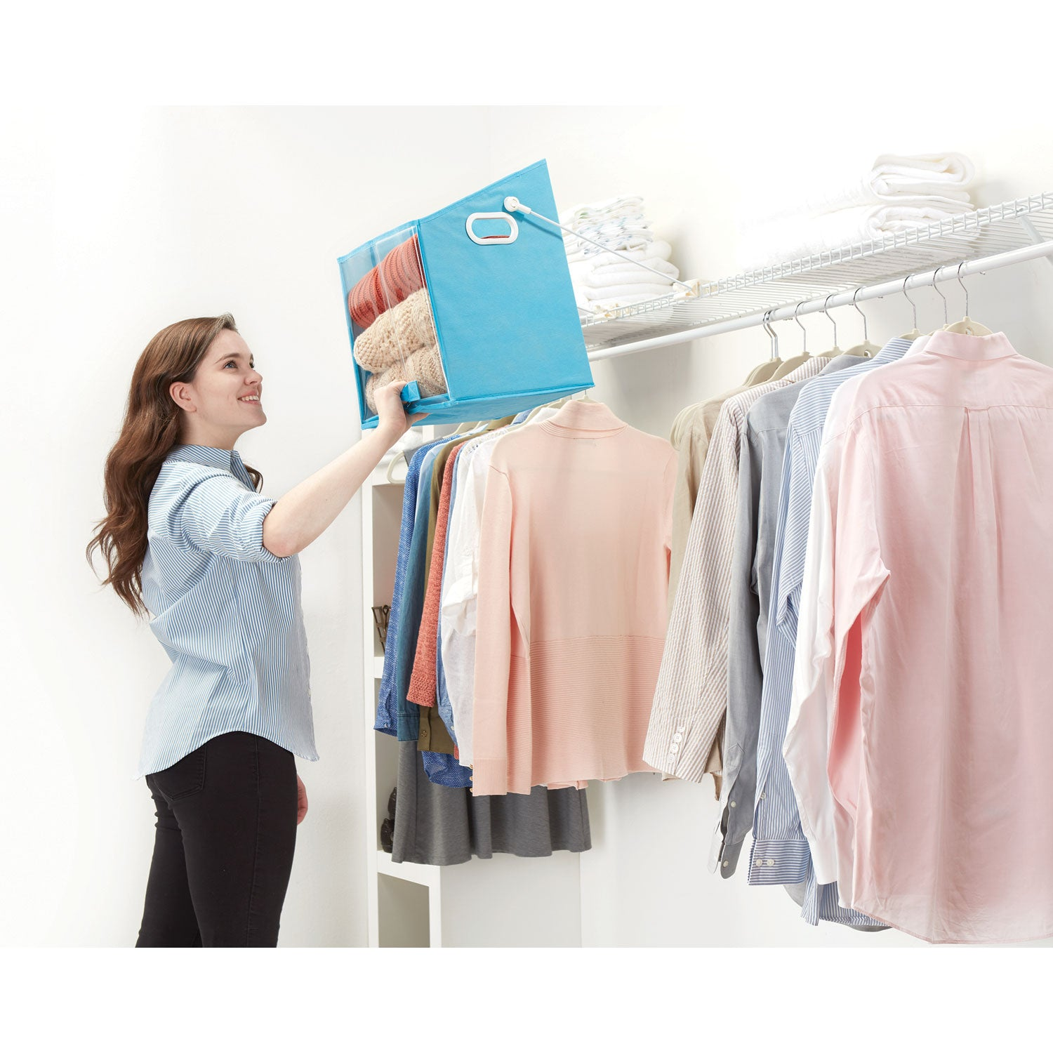 Closet Caddy-Retrieve Items From High Shelves Safely And Easily-Blue