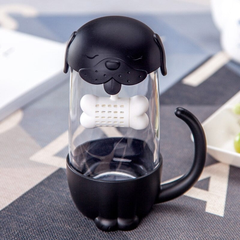Goofy Pup Glass Tea Mugs with Infusers