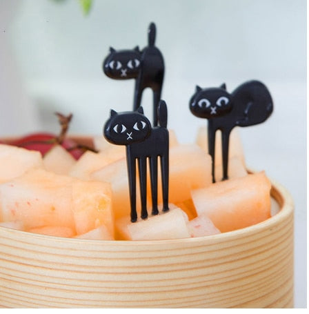 Spooky Cat Fruit/Cheese Forks