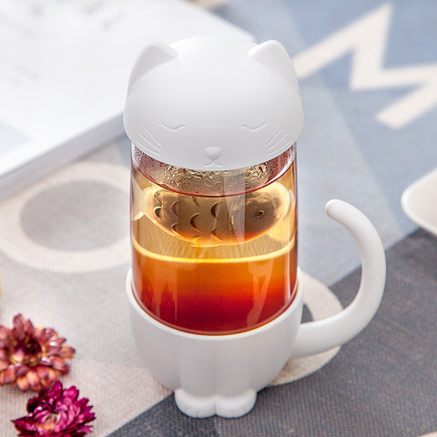 Cali Cat Glass Tea Mugs with Infusers
