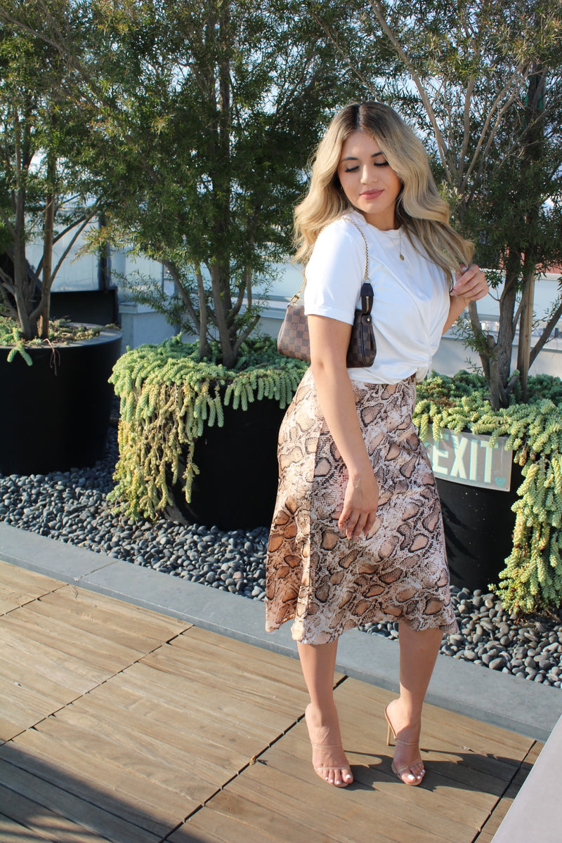 Iconic Snake Satin Midi Skirt