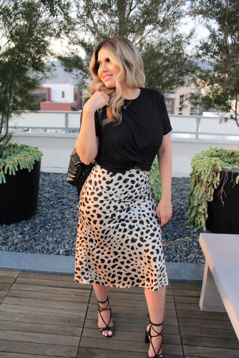 Iconic Leopard Satin Midi Skirt