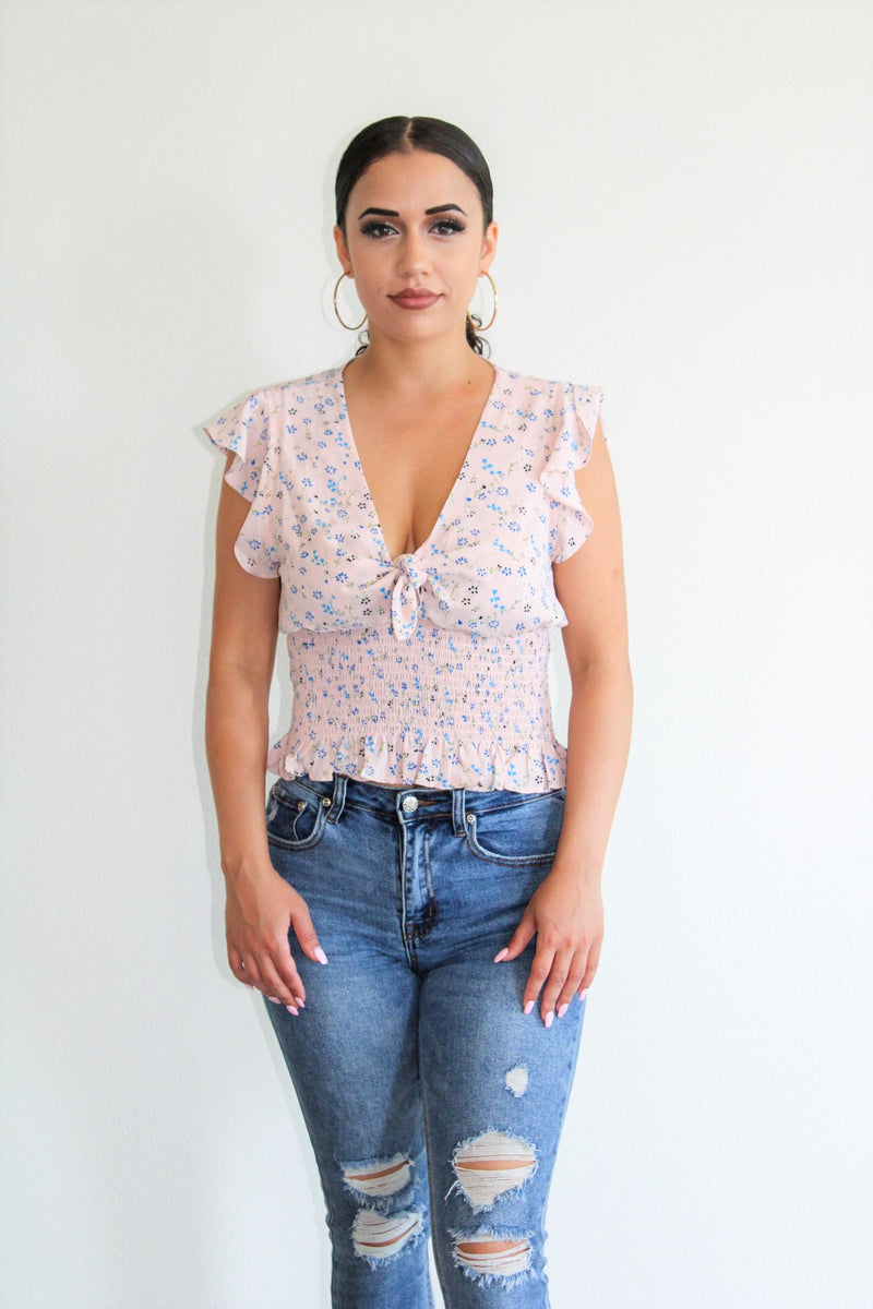 Jessy Floral Print Top- Light Pink