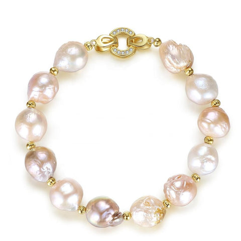 CZCITY Natural Freshwater 12-13mm Pearl Multicolor Cultured Pearl Beaded Bracelets for Women Gift