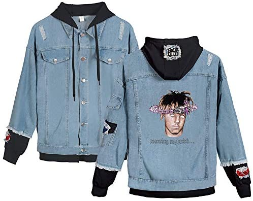 Adults Hip Hop Juice Printed Denim Jacket Coat Hoodies Sweatshirts for Unisex