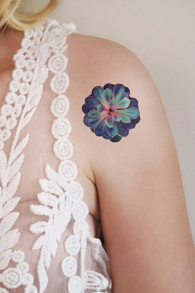 Succulent temporary tattoo - a temporary tattoo by Tattoorary