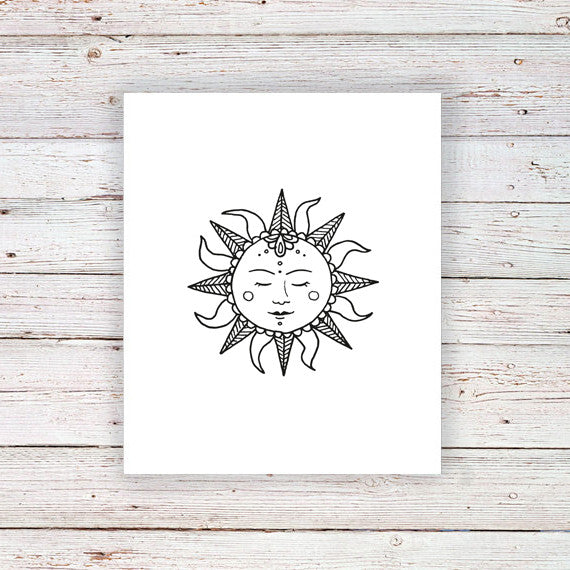 Sun temporary tattoo - a temporary tattoo by Tattoorary