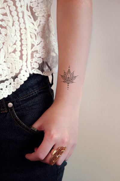 Boho lotus temporary tattoo - a temporary tattoo by Tattoorary