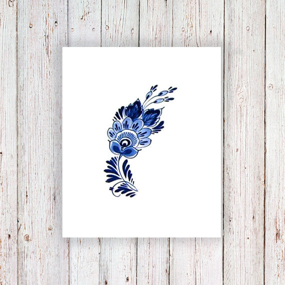 Small Delft Blue floral tattoo - a temporary tattoo by Tattoorary