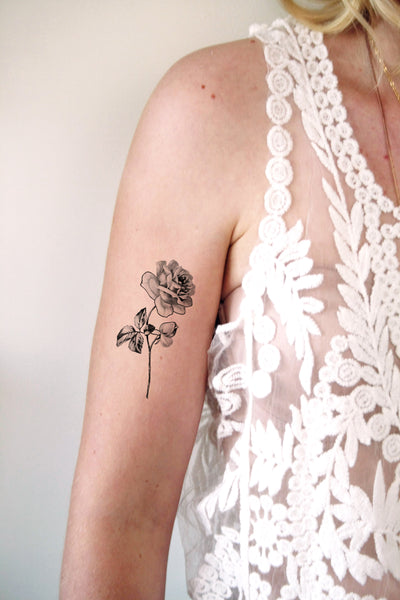 Delicate rose temporary tattoo - a temporary tattoo by Tattoorary