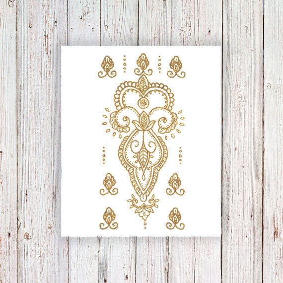 Delicate gold henna temporary tattoos - a temporary tattoo by Tattoorary