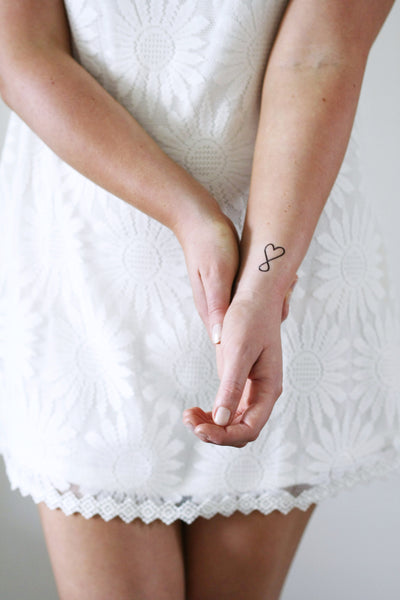 Small infinite love temporary tattoo (4 pieces) - a temporary tattoo by Tattoorary