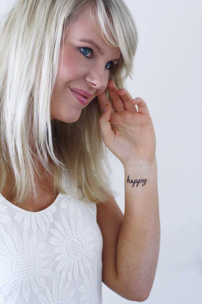 'happy' temporary tattoo (2 pieces) - a temporary tattoo by Tattoorary