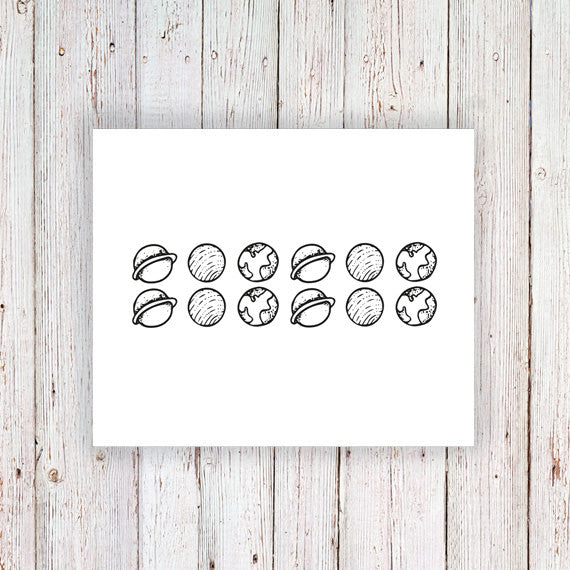 Small planets temporary tattoo set - a temporary tattoo by Tattoorary