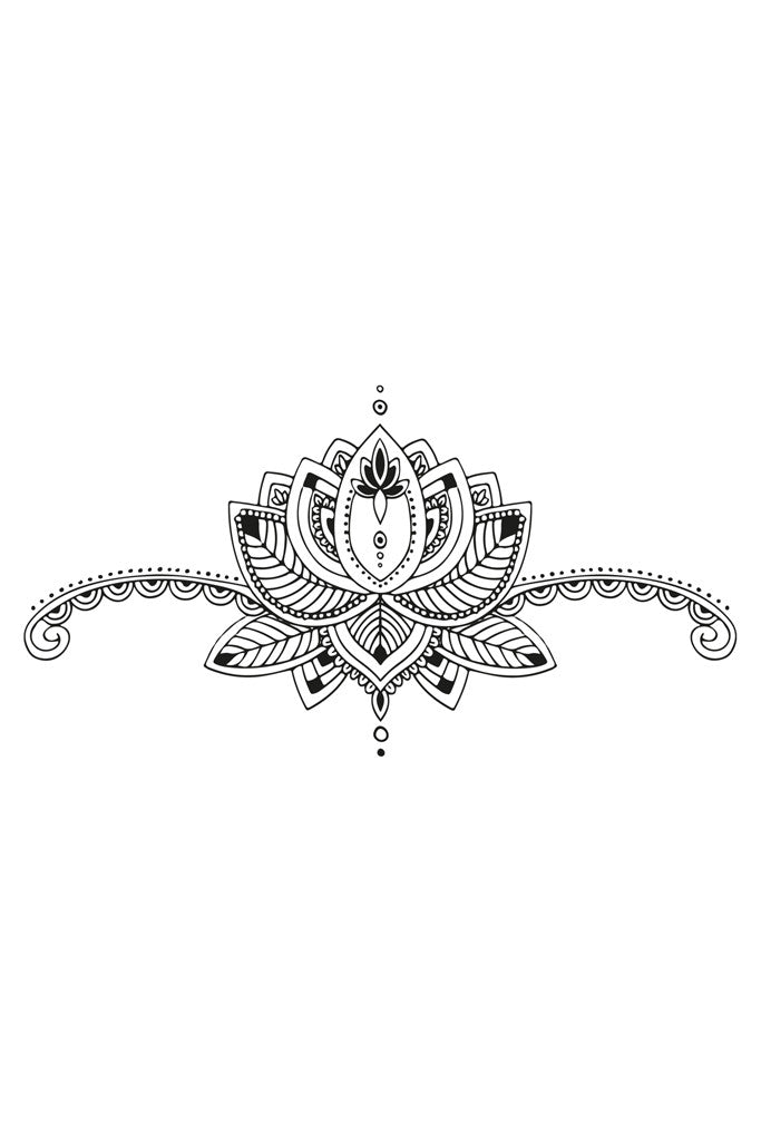 Lotus sternum temporary tattoo - a temporary tattoo by Tattoorary