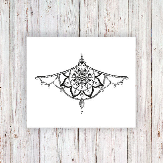 Mandala sternum temporary tattoo - a temporary tattoo by Tattoorary