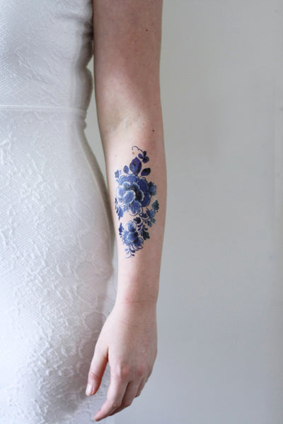 Large floral vintage Dutch 'Delfts Blauw' temporary tattoo - a temporary tattoo by Tattoorary